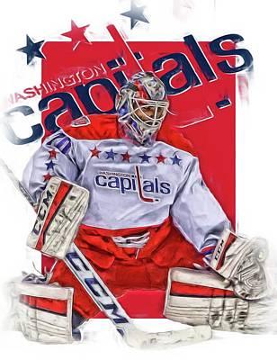 Hockey Mixed Media - Braden Holtby Washington Capitals Oil Art by Joe Hamilton