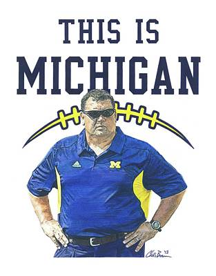 University Of Michigan Mixed Media - Brady Hoke by Chris Brown