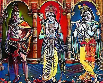 Hindu Goddess Drawing - brahma siva Krisna - My WWW vikinek-art.com by Viktor Lebeda
