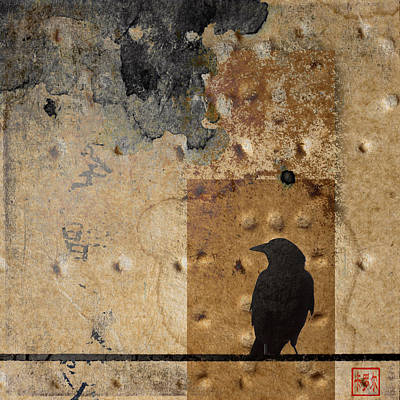 Abstract Montage Photograph - Braille Crow by Carol Leigh