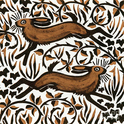 Bramble Hares Print by Nat Morley