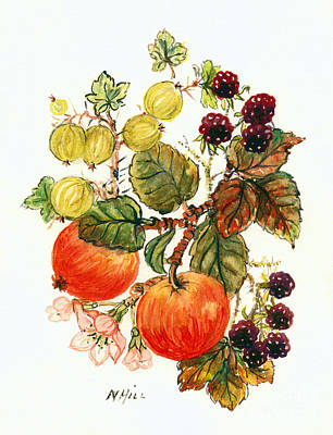 Apple Drawing - Brambles, Apples And Grapes  by Nell Hill