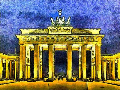 Berlin Germany Painting - Brandenburg Gate At Night by Ralph van Och