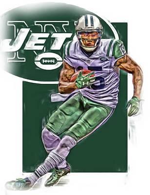 Jet Mixed Media - Brandon Marshall New York Jets Oil Art by Joe Hamilton
