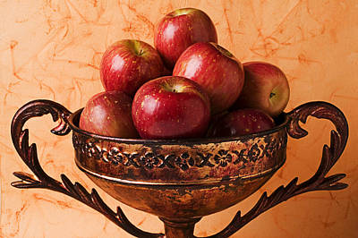 Apple Photograph - Brass Bowl With Fuji Apples by Garry Gay