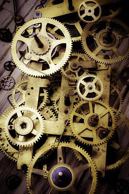 Brass Clock Gears Print by Garry Gay