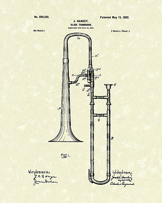 Antique Drawing - Brass Trombone Musical Instrument 1902 Patent by Prior Art Design