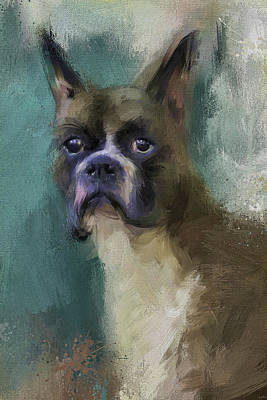 Abstract Dog Painting - Brave Boxer by Jai Johnson
