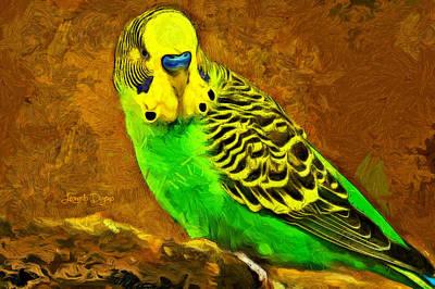 Parrots Digital Art - Brazilian Periquito  - Van Gogh Style -  - Da by Leonardo Digenio