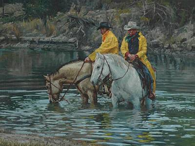 Ranchers Painting - Break At The Brazos by Jim Clements