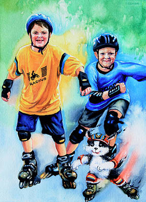 Kids Sports Art Painting - Break Away by Hanne Lore Koehler