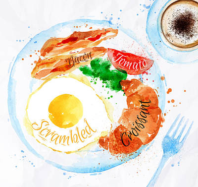 French Fried Painting - Breakfast 01 by Aloke Design