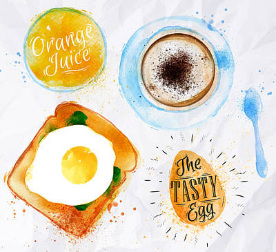 French Fried Painting - Breakfast 02 by Aloke Design