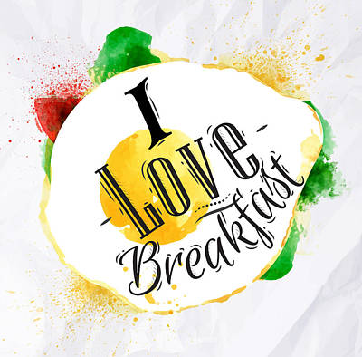French Fried Painting - I Love Breakfast by Aloke Design