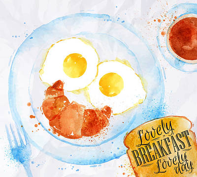 French Fried Painting - Breakfast 03 by Aloke Design