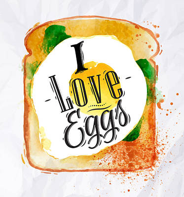 French Fried Painting - I Love Eggs by Aloke Design