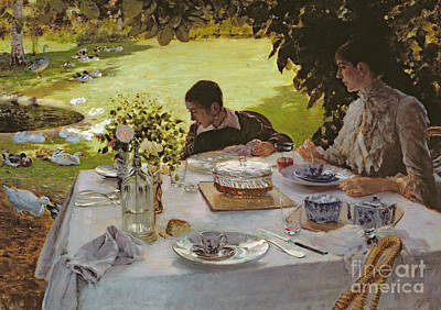 Ground Painting - Breakfast In The Garden, 1883 by Giuseppe Nittis