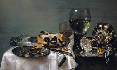 Breakfast Table With Blackberry Pie Print by Willem Claeszoon Heda