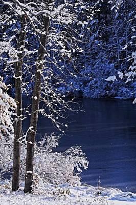 Breaking Light On Fresh Snow And Lake Print by Matt Plyler