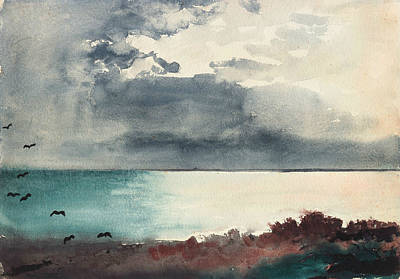 Breaking Storm Coast Of Maine Print by Winslow Homer