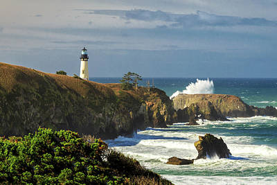 Yaquina Head Lighthouse Photograph - Breaking Waves At Yaquina Head Lighthouse by James Eddy