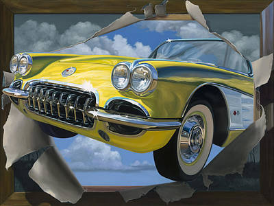 Corvette Painting - Breakout by Lucretia Torva