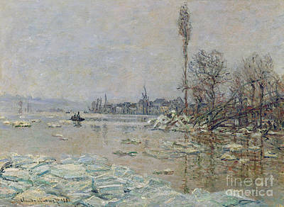 Snow Scene Landscape Painting - Breakup Of Ice by Claude Monet