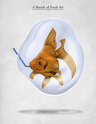 Goldfish Digital Art - Breath Of Fresh Air by Rob Snow