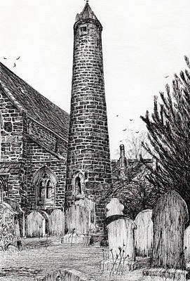 Pen And Ink Tree Drawing - Brechin Round Tower by Vincent Alexander Booth