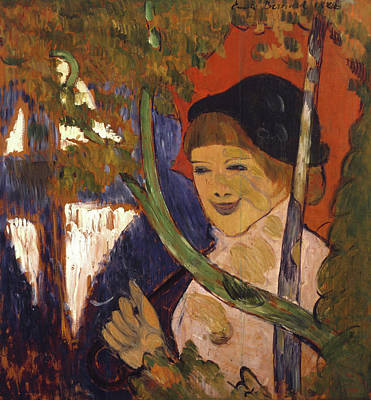 Woman Painting - Breton Girl With A Red Umbrella by Emile Bernard