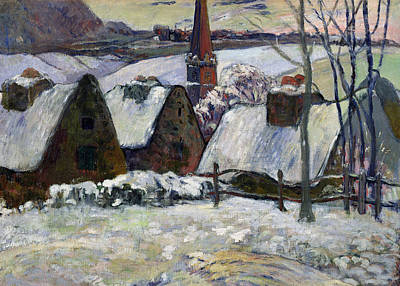 Rooftops Painting - Breton Village Under Snow by Paul Gauguin