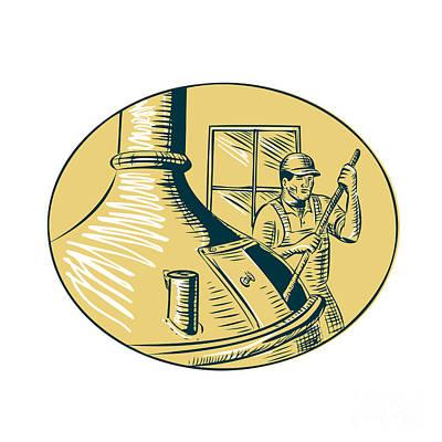Beer Digital Art - Brewermaster Brewer Brewing Beer Etching by Aloysius Patrimonio