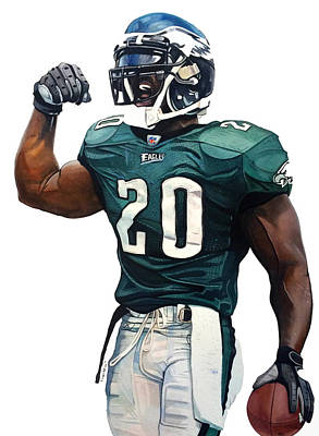 Philly Drawing - Brian Dawkins - Philadelphia Eagles by Michael Pattison