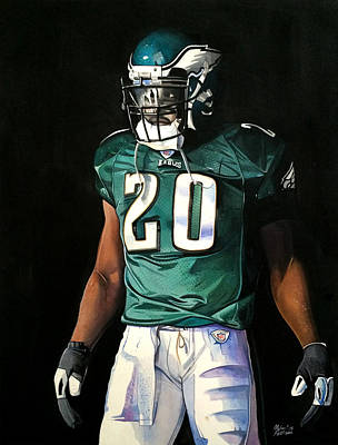 Football Art Drawing - Brian Dawkins Weapon X - Philadelphia Eagles by Michael  Pattison