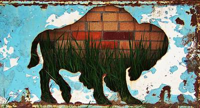 Red Brick Buffalo Original by Larry Campbell
