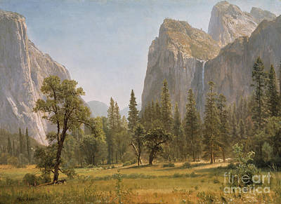 20th Century Painting - Bridal Veil Falls Yosemite Valley California by Albert Bierstadt