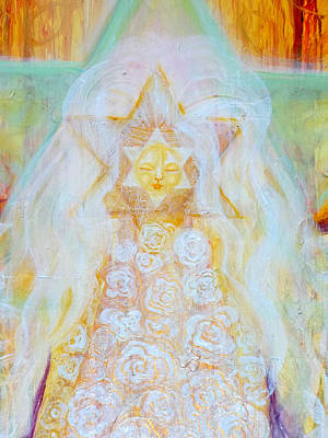 Save The Earth Painting - Bride Of Christ Save The Planet Face Detail by Anne Cameron Cutri