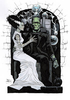 Frankenstein Drawing - Bride Of Frankenstein by Paul Davidson