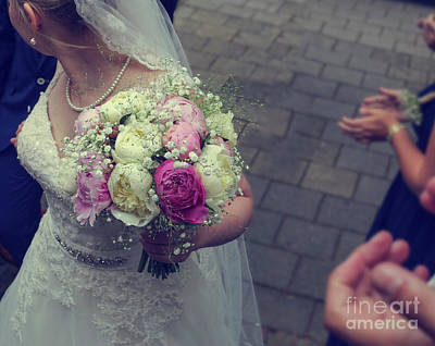 Applaud Photograph - Bride With Wedding Bouquet by Patricia Hofmeester