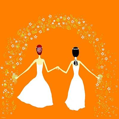 Brides Print by Barbara Moignard