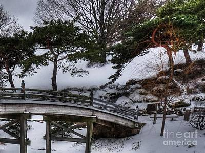 Bridge At Botanical Garden Print by David Bearden