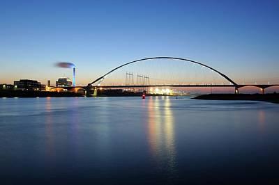Bridge De Oversteek In Nijmegen Across The Waal River Print by Merijn Van der Vliet