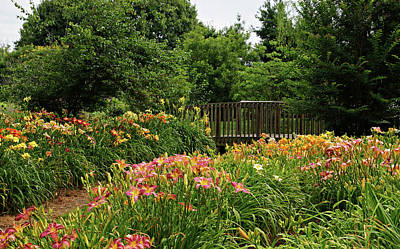Bridge In Daylily Garden Print by Sandy Keeton