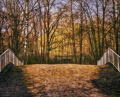 Bridge In Park Print by Wim Lanclus