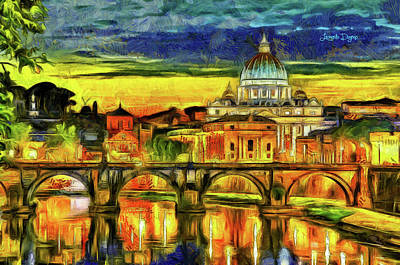 Historical Painting - Bridge Of Angels Evening by Leonardo Digenio