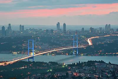 Istanbul Photograph - Bridge Over Bosphrous by Salvator Barki