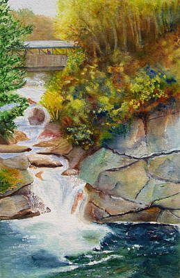 Franconia Notch Painting - Bridge Over Traveled Water by Karen Fleschler