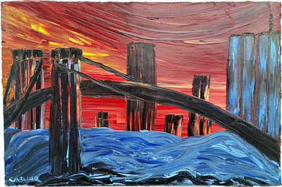 Lightning D Painting - Bridge Over Troubled Water Live Rhymin' by Ronald Carlino Jr
