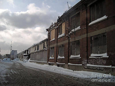 Train In The Winter Photograph - Bridge Street Decay by Reb Frost
