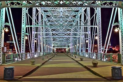 Downtown Nashville Photograph - Bright Bridge Lights by Frozen in Time Fine Art Photography